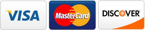 We accept Visa, MasterCard, and Discover logos